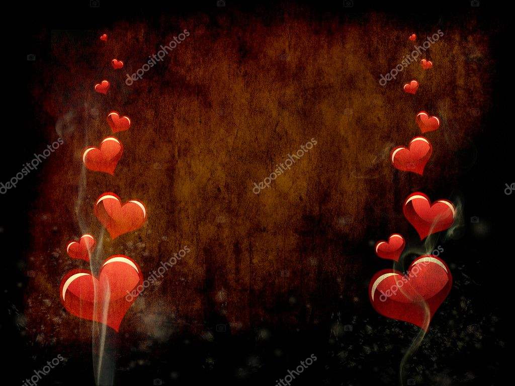 Various size heart shapes on grunge background — Stock Photo #3019626
