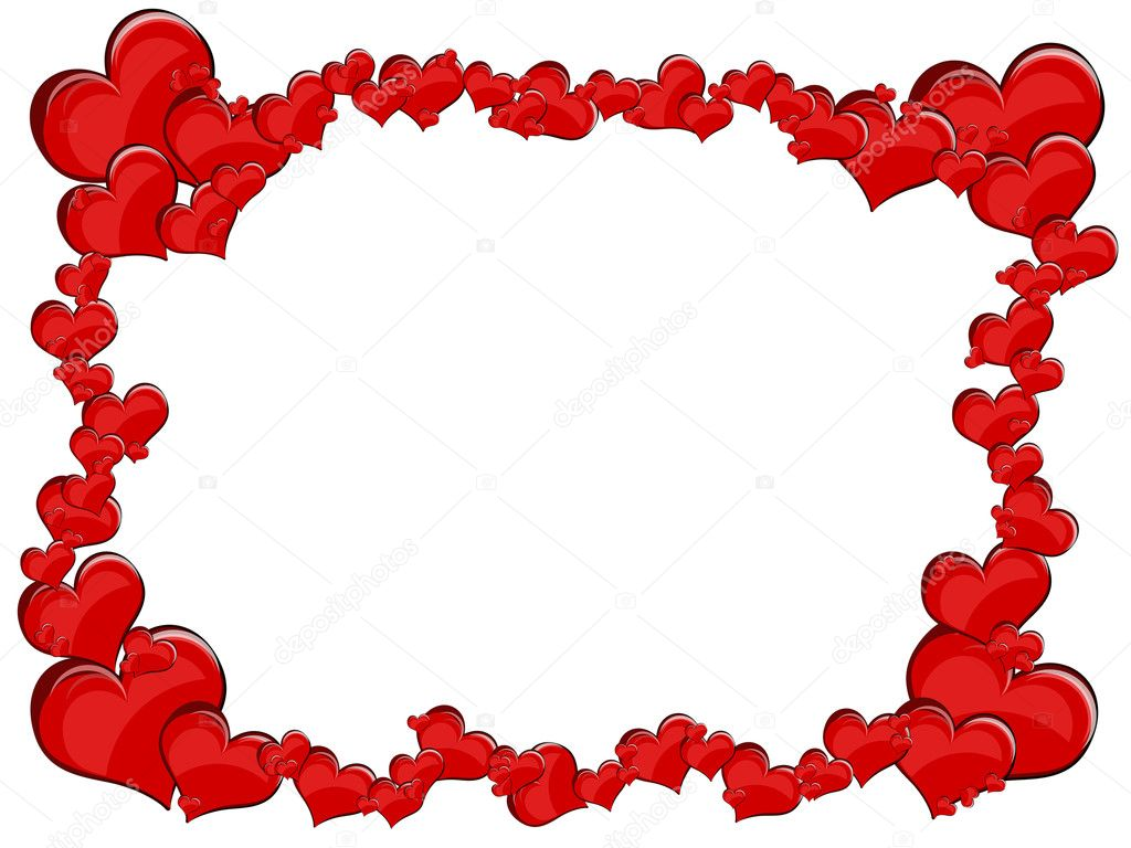 Various size heart shapes on red background — Photo #3077810