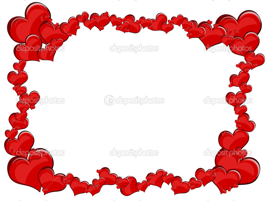 Various size heart shapes on red background — Stock Photo #3077810