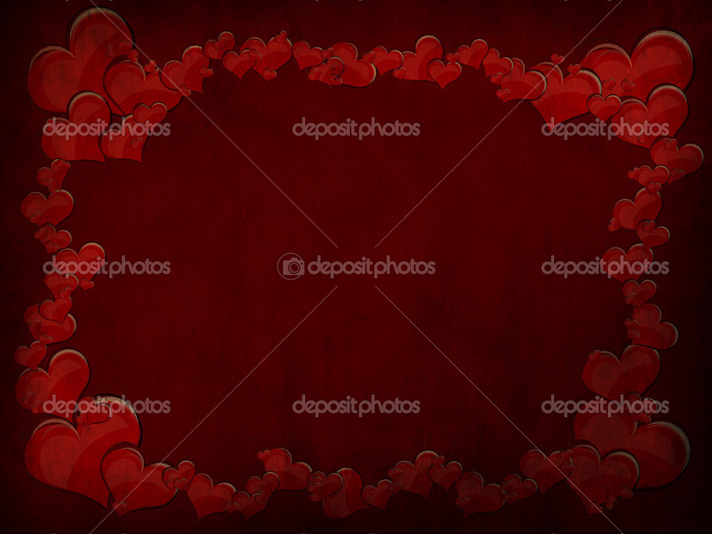Various size heart shapes on red background — Photo #3077815