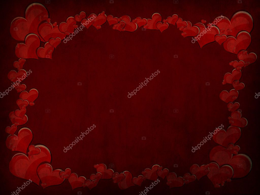 Various size heart shapes on red background  Foto Stock #3077815