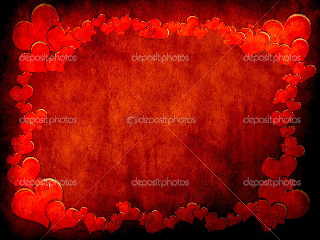 Various size heart shapes on red background — Stock Photo #3088443