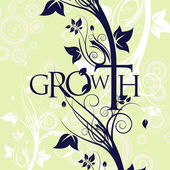 Growth Text Floral Background — Stock Vector