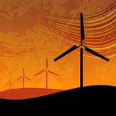 Wind Farm on Sunset — Stock Vector