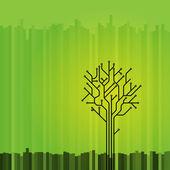 Circuit board tree on green — Stock Vector