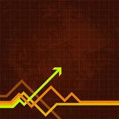 Green arrow pushing forward on chart — Stock Vector