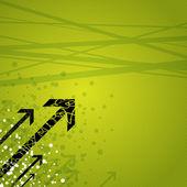 Dynamic arrows on green — Stock Vector