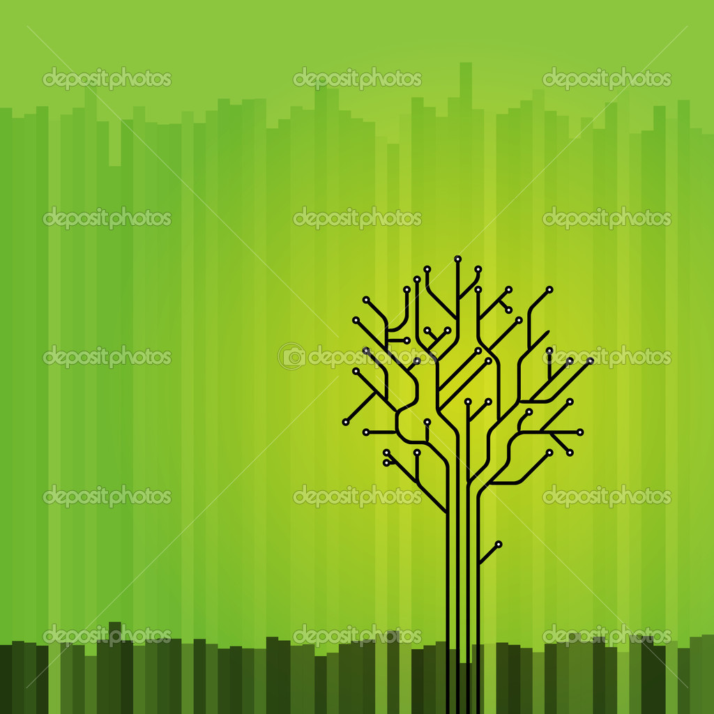 Circuit board tree on green background — Stock Vector #2913024