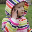 Little girl talking on the phone — Foto Stock