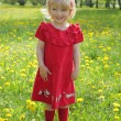 Little girl in a red dress for a walk — Stock Photo