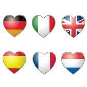 Ren och klar hjärta form flaggor — Stockvektor