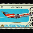 Old Cuban postage stamp with airplane — Stock Photo #2907705
