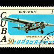 Old Cuban postage stamp with airplane — Stock Photo #2907834