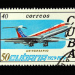 Old Cuban postage stamp with airplane — Stock Photo #2907915