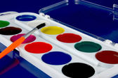 Paintbox watercolour and paintbrush — Stock Photo