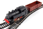 Toy Steam Train and freight wagon — Stock Photo