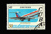 Old Cuban postage stamp with airplane — Stock Photo
