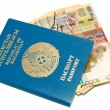 Passport and banknotes of Kazakhstan — Stock Photo