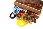 Vintage jewelry and box — Stock Photo