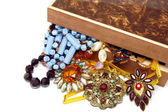 Vintage jewelry and box — Stock Photo