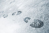 Footprints in snow — Stock Photo