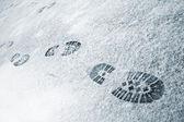 Footprints in snow — Stock Photo