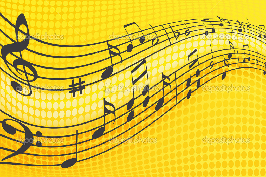 music wallpaper with music al notes yellow with orange