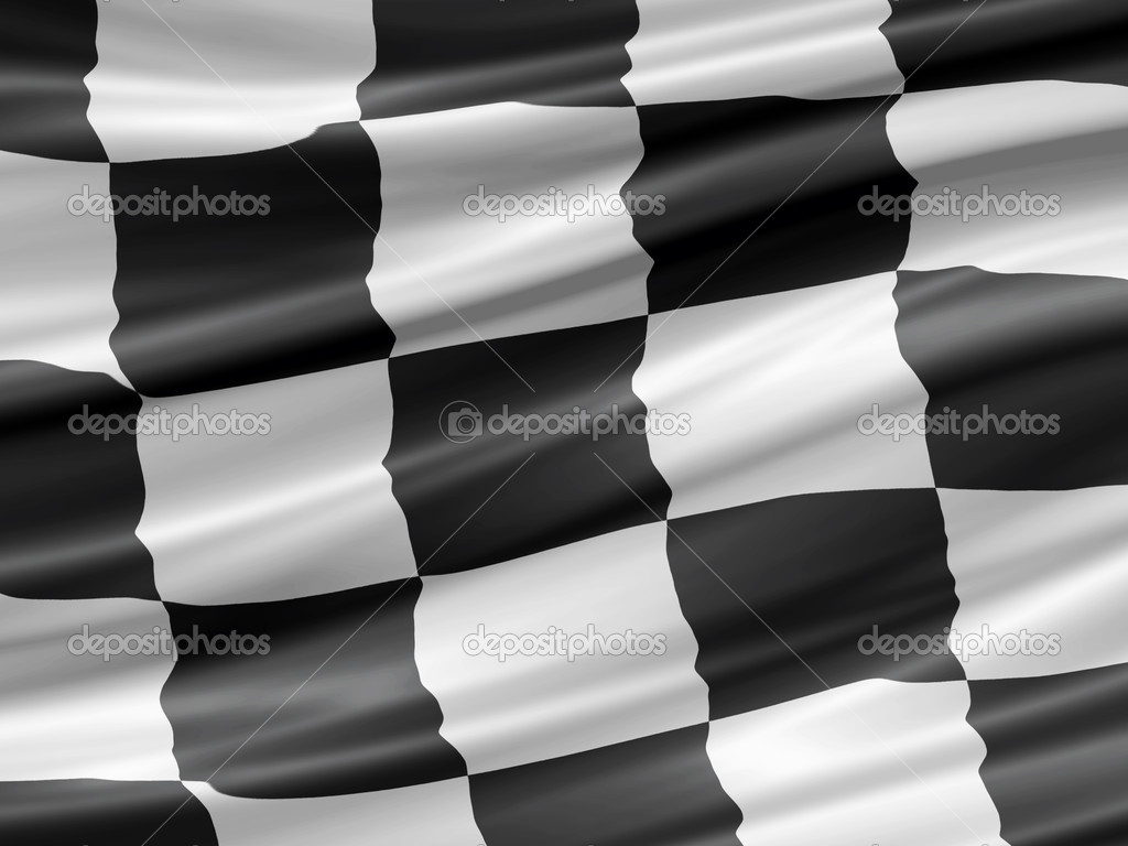 Balck and white checkered racing flag waiving detail — Stock Photo #3006151