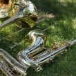 Stock Photo: Saxophones and trombones