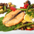 Stock Photo: Fried salmon with vegetables