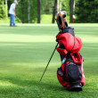 Stock Photo: Bag with golf clubs on golf field