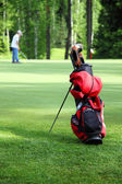 Bag with golf clubs on the golf field — Stock Photo