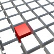 Special single red cube and white cube — Stock Photo