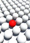 özel tek kırmızı top ve beyaz topu — Stok fotoğraf