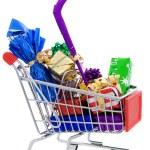 Christmas shopping cart — Stock Photo