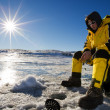 Sunny ice fishing — Stockfoto
