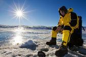 Sunny ice fishing — Stock Photo