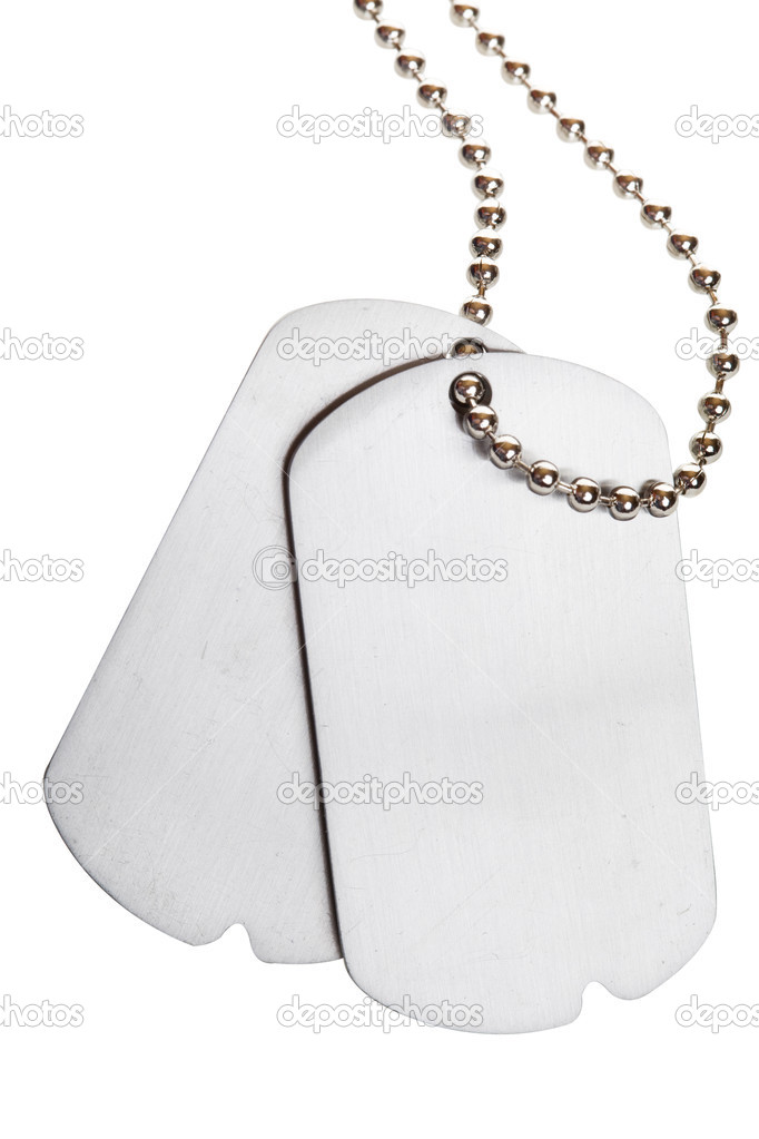 Blank army dogtags isolated on white background - insert your own text — Foto Stock #2965403