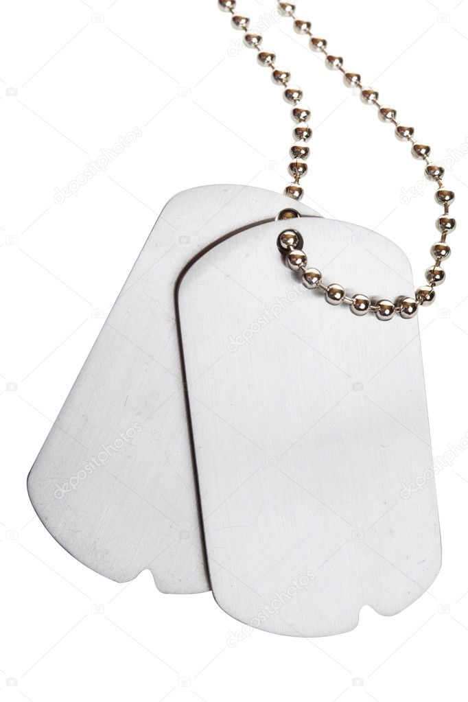 Blank army dogtags isolated on white background - insert your own text — Foto de Stock   #2965403
