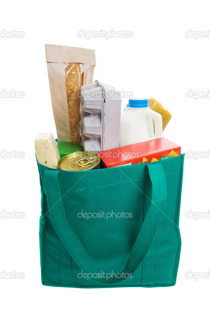 Green eco friendly grocery bag full of food  Stock Photo #2965922