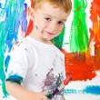 Child painting on wall — Foto de stock #2968479