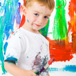 Child painting on wall — Stock fotografie #2968479