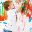 Child painting on wall — Stock Photo #2968489