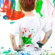 Foto de Stock  : Child painting on wall