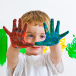 Child with painted hands — Stock Photo #2968507