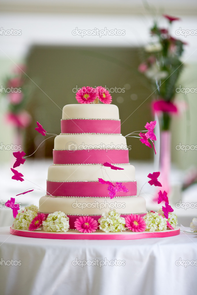 Beautiful wedding cake with butterflies  Stock Photo #2968866