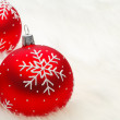 Red snow flake bauble — Stock Photo