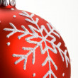 Snowflake red Christmas bauble — Stock Photo