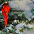 Red twisty Christmas icicle — Stock Photo #2972218