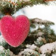 Red glass Christmas hearts — Stock Photo